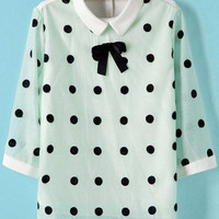 Green Mesh Polka Dot Pointed Flat Collar Half Sleeve Blouse