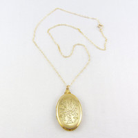 Vintage Gold Filled Oval Locket Necklace Engraved Flower Basket Photo Locket Pendant WWII Era Sweetheart Jewelry