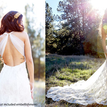 French Lace   Trumpet Shape Lace and Mesh Wedding Dress   Low back Wedding Dress  See Through Lace Dress with Keyhole Back.