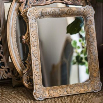 Rustic French Style Carving Frame Wall Mirror Rectangular