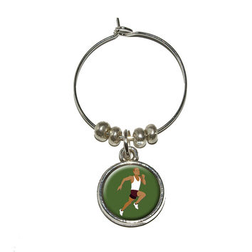 Runner - Running Track Long Distance Cross Country Wine Glass Charm