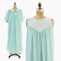 Vintage 60s Nightgown & Peignoir SET / 1960s Aqua Chiffon Embroidered Satin Nightie Robe S