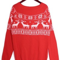 *Free Shipping* Red Women Knitting Sweater One Size GP0060 from efoxcity