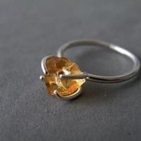 Rough Honey Citrine Ring Sterling Silver 4 Prongs Setting November Birthstone Jewelry Natural Organic Stone Ring by SteamyLab