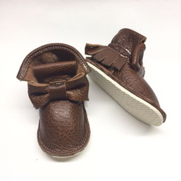Brown chestnut bow genuine leather high top moccasins, mini boots with rubber or soft sole