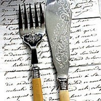 2 pc Antique Victorian Silver Engraved Fish Set