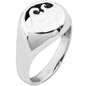 Wave Signet Sterling Silver Ring