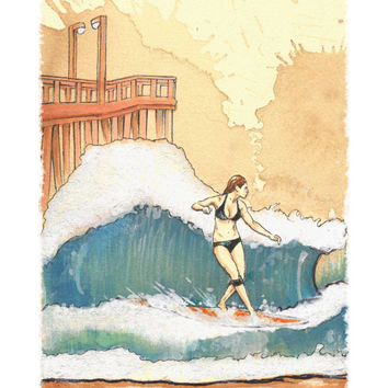 Wave Rider - Surfer Girl - Longboard Surfer Female Wave Rider - Print of Original Painting on Tea Stained Rives BFK Paper by Elliott Addesso