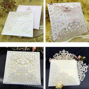 30pcs/lot No Envelope Blank Inner Page Business/Party/Birthday Laser Wedding Invitation Card 5ZSH192-30