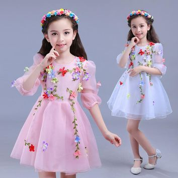Children Sweet Princess Dress Girl 2017 New Cool Net Yarn Applique Dresses Girls Fashion Performance Costumes For 3-12 Years
