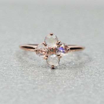 14k Rose Gold Plated Sterling Silver Ring Rainbow Moonstone Flower and Small CZ Accented Ring