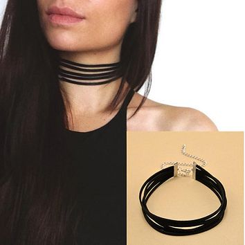 90's Black Velvet Choker Necklace 5 layers Goth Gothic Handmade Ribbon Collar Necklaces Retro