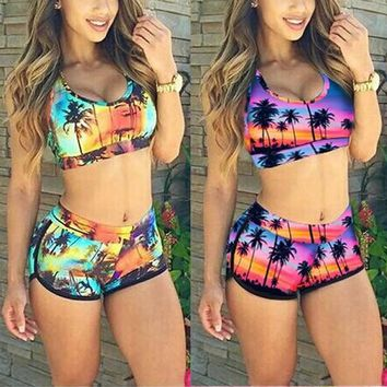 Sexy Women Crop Tops High Waist Shorts Floral Bikini Set Beach Swimwear Swimsuit BRE