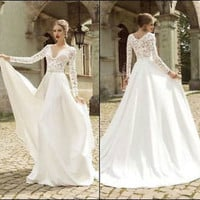 white V Neck Long Sleeve Wedding Dress Bride formal Bridal Gowns Size Custom New