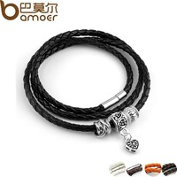 Silver Charm Black Leather Bracelet for Women Five Colors Magnet Clasp Christmas Gift Jewelry PI0311