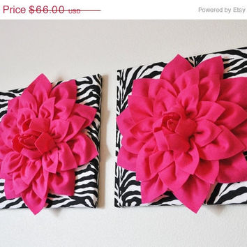 "MOTHERS DAY SALE Two Wall Flowers -Hot Pink Dahlia Flowers on Black and White Zebra Print 12 x12"" Canvas Wall Art- Baby Nursery Wall Decor-"
