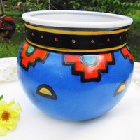 Anasazi Replica Planter Flower Pot Vintage Tribal Pottery Large Colorful Planter Pot Glazed Porcelain Hallmarked Sun Swirl Home Garden Decor