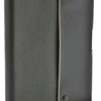 Black Snap with Pencil Italian Leather Journal- 6X8