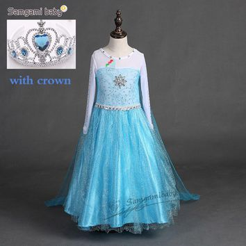 Summer Girl Princess Elsa Dress with crown Children Halloween Snow Queen Cosplay Costume Baby Toddler Kids girls party Clothes