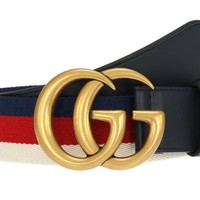 NEW GUCCI BLUE LEATHER DOUBLE G BUCKLE WEB DETAIL BELT 95/38