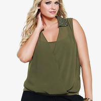 Embellished Collar Chiffon Sleeveless Twofer Top
