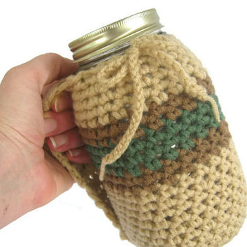 Nature Lover Crocheted Mug Holder with Handle.Tan Brown and Green, Reduce your Impact Mason and Kerr Quart Size Jar