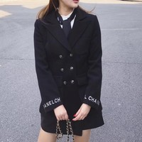 """Chanel"" Women Fashion Letter Double Row Buttons Wool Long Sleeve Cardigan Suit Coat"