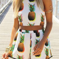 Beige Two Piece Pineapple Shorts Set