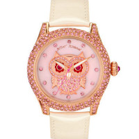 PINK OWL WATCH WITH CRYSTAL BEZEL - Betsey Johnson
