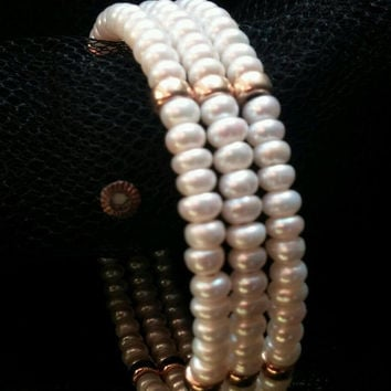 Fine Estate Vintage 3 Strand Cultured Pearl & 14k Gold Cuff Bracelet Triple Row Pearl Bracelet Bridal Jewelry Wedding 18 grams