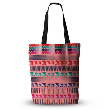 """Famenxt """"Romantic Love Pattern"""" Pink Abstract Everything Tote Bag"""
