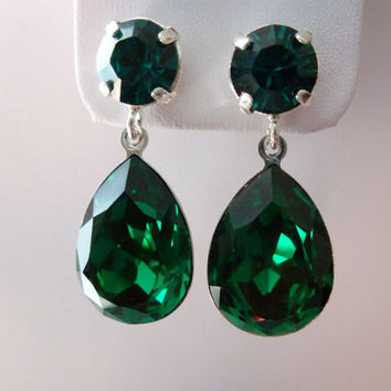 Green Emerald Earrings Crystal Swarovski - Emerald Earrings - Angelina Jolie emerald earrings - Sterling Silver Post Earrings