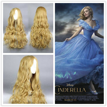 Hot New Movie Princss Cinderella Wig Long Curly Ash Blonde Anime Cosplay Wig ,Colorful Candy Colored synthetic Hair Extension Hair piece 1pcs WIG-016H