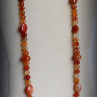 Necklace Orange Jasper with Sterling Silver Clasp, Statteam
