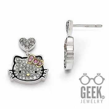 Sterling Silver Hello Kitty Pavé Crystal Outline Collection Post Earrings