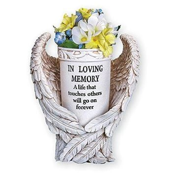 Angel Wings Memorial Vase Garden Decor Yard Stake, Beige