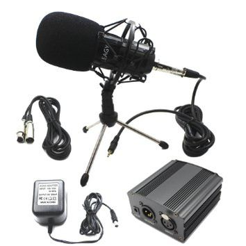 LEAGY L-58 Home Recording Sound Studio Dynamic Mic, Pro Audio Condenser Microphone Studio Pickup Recording MIC w/ Shockmount, 48V Phantom Power Supply, XLR 3 Pin Microphone Cable, Mini Desktop Tripod