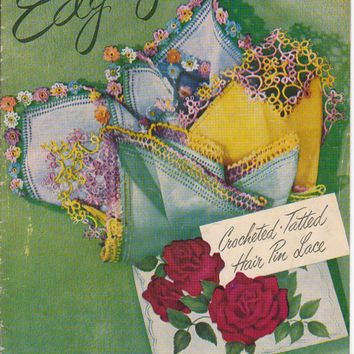 Vintage 1940s booklet Edgings: Crochet, Tatted, Hair Pin Lace 24 patterns for handmade lace embellishments for linens Star Book #81