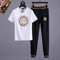 Versace Men and Women Fashion Black Leisure Tracksuit Two Piece Suit Set created created