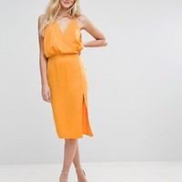 ASOS Wrap Front Cami Midi Dress with Thigh Splits at asos.com