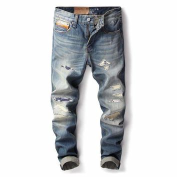 2018 Newly Vintage Designer Men Jeans Japanese Style Slim Fit Classical Jeans Superably Brand Ripped Jeans Men Patch Pants
