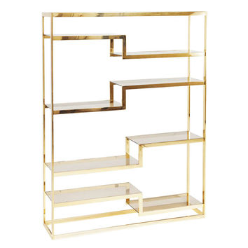 Freestanding Italian Roomdivider / Bookshelf In Brass