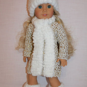 18 inch doll clothes, sparkly mini dress, snowball style hat and matching scarf, red and white booties, ,  american girl, Maplelea
