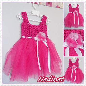 Easter SALE Crochet/Tulle Dress, and Headband set  FREE shipping