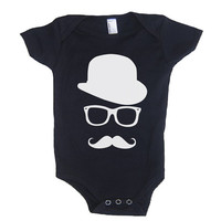 MUSTACHE WAYFARER Hat Baby Onesuit Boy Bodysuit - American Apparel - 3-6m, 6-12m, 12-18m, 18-24m, (7 Color Options)