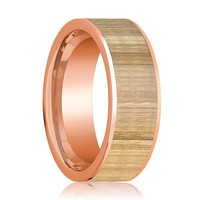 Mens Wedding Band Polished Flat 14k Rose Gold Wedding Ring with Ash Wood Inlay  - 8mm