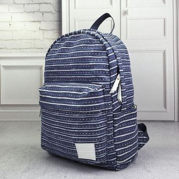 LMFON1O Day First Navy Striped Canvas Backpack School Bag Travel Bag