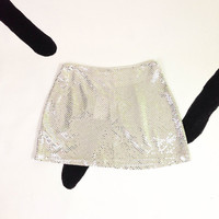 90s Silver Sequin Glitter Mini Skirt / Large / Club Kid / Clueless / Spice Girls / Cyber Goth / Go Go / Mod / Raver / Party / Disco / 1990s