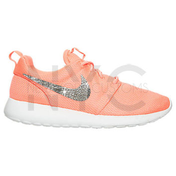 Bright Mango White Blinged Nike Roshe Run Shoes w/ Swarovski Crystal Rhinestones