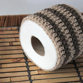Striped Crochet Toilet Paper Cover, Toilet Paper Cover, Bathroom Decor, Brown and Jute, Modern Decor